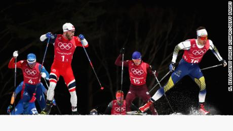 Martin Johnsrud Sundby of Norway (1-1) and Marcus Hellner of Sweden (16-1) compete during the Cross Country Men's Team Sprint Free Final.