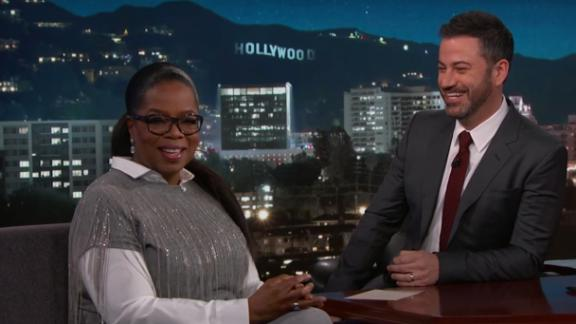 Oprah Winfrey stops by for a chat with Jimmy Kimmel on Thursday.