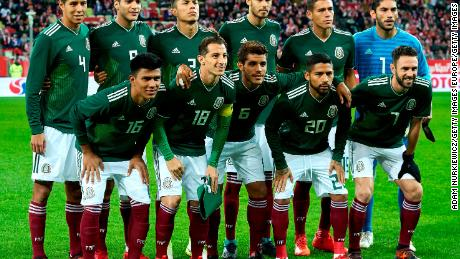GDANSK, POLAND - NOVEMBER 13: (L-R) Hugo Ayala and Raul Jimenez and Carlos Salcedo and Diego Reyes and Hector Moreno and goalkeeper Jose Jesus Corona and (LOWER ROW) Jesus Gallardo and Andres Guardado and Jonathan dos Santos and Javier Aquino and Miguel Layun all of Mexico pose to the team photo during the International Friendly match between Poland and Mexico at Energa Arena Stadium on November 13, 2017 in Gdansk, Poland. (Photo by Adam Nurkiewicz/Getty Images)