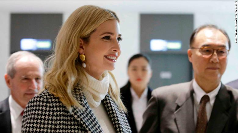 Ivanka Trump (L), advisor to and daughter of US President Donald Trump, arrives at Incheon International Airport in Incheon on February 23, 2018, to attend the closing ceremony of the 2018 Pyeongchang Winter Olympic Games on February 25.