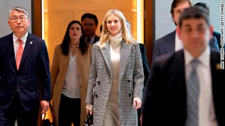 Ivanka Trump (C), advisor to and daughter of US President Donald Trump, arrives at Incheon International Airport in Incheon on February 23, 2018, to attend the closing ceremony of the 2018 Pyeongchang Winter Olympic Games on February 25.