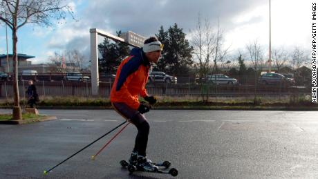 Morocco's Azzimani trains on roller skis