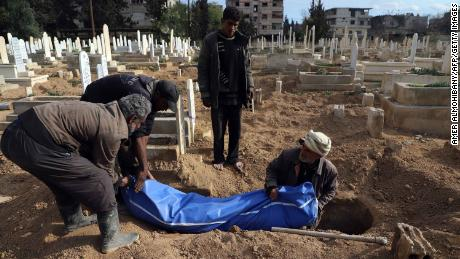 Syrians prepare to bury a body in Kafr Batna, in the besieged Eastern Ghouta region, on Thursday.