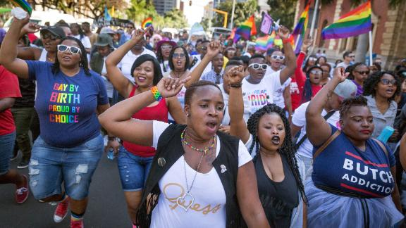Members of the South African Lesbian, Gay, Bisexual and Transgender and Intersex (LGBTI) community at the annual Gay Pride Parade in Durban in 2017.