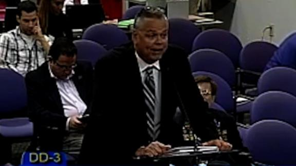 Scot Peterson addresses a Broward County School Board meeting on February 18, 2015.