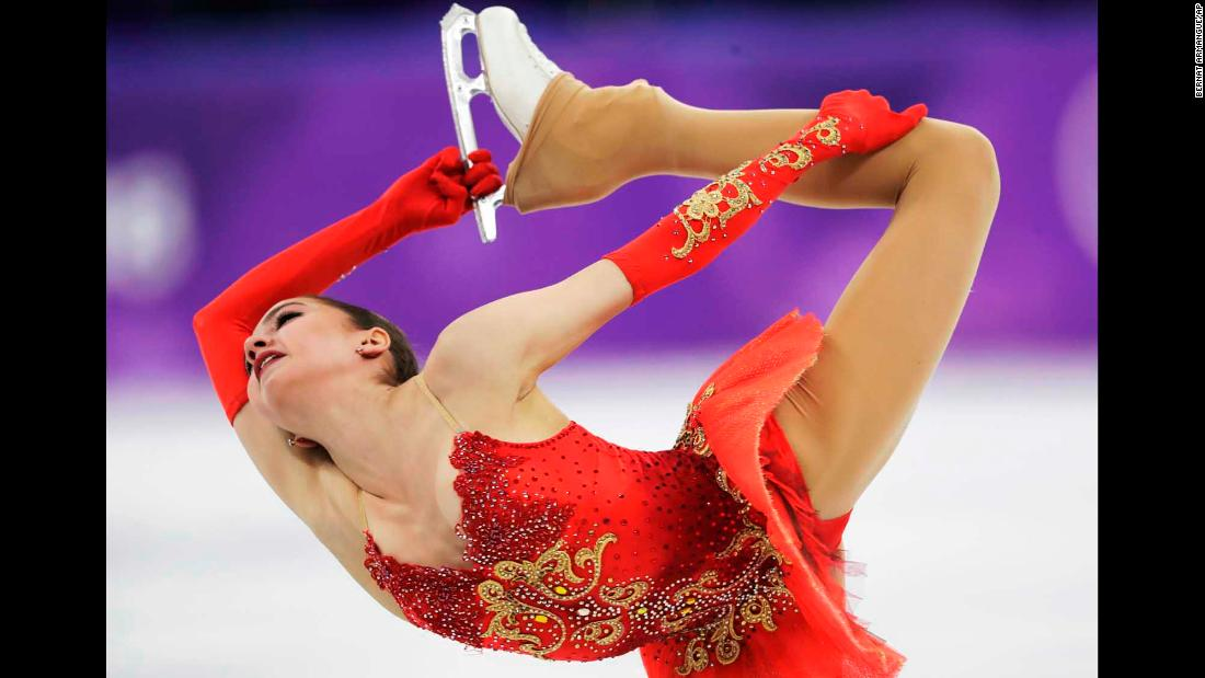 Alina Zagitova performs her free skate. The 15-year-old edged out fellow Russian Evgenia Medvedeva to win the gold in ladies' figure skating.
