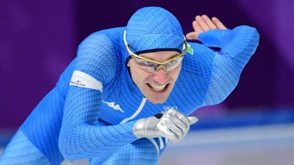 Italian speedskater Mirko Giacomo Nenzi competes in the 1,000 meters.