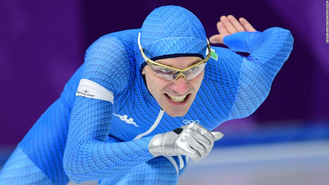 Italian speedskater Mirko Giacomo Nenzi competes in the 1,000 meters.