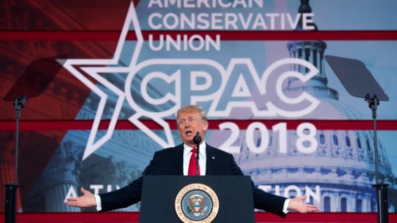 President Donald Trump speaks during the 2018 Conservative Political Action Conference at National Harbor in Oxon Hill, Maryland, on February 23, 2018.