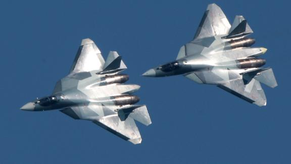 Sukhoi Su-57 jet multirole fighter aircraft in flight during an air display event as part of the 2017 Forsazh [Forsage] aviation festival marking the 105th anniversary of the establishment of the Russian Air Force in Patriot Park. Sergei Bobylev/TASS (Sergei Bobylev\TASS via Getty Images)