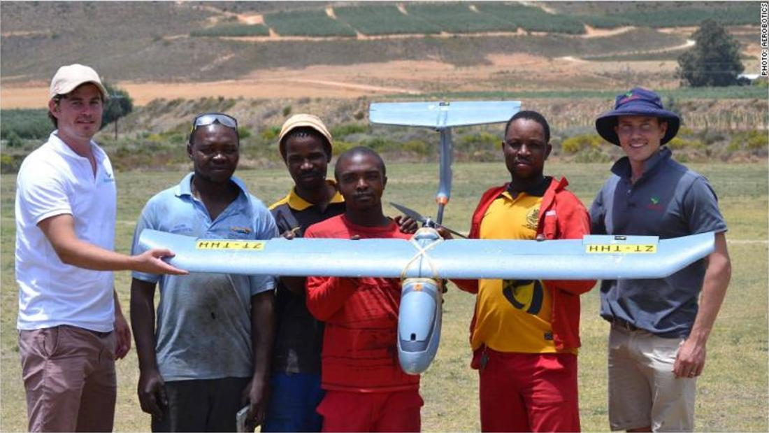 "In South Africa, drone startup <a href=""https://money.cnn.com/2018/02/15/technology/aerobotics-farm-app-drones/index.html"" target=""_blank"">Aerobotics</a> provides bird's eye surveillance for farmers, with the aim of optimizing crop yields and reducing costs."