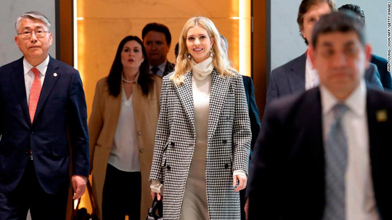 Ivanka Trump, daughter of US President Donald Trump, arrives at Incheon International Airport on February 23.