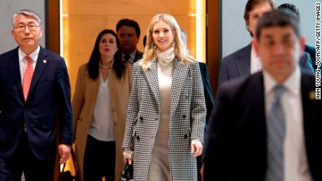 Ivanka Trump (C), advisor to and daughter of US President Donald Trump, arrives at Incheon International Airport in Incheon on February 23, 2018, to attend the closing ceremony of the 2018 Pyeongchang Winter Olympic Games on February 25. Trump's daughter Ivanka arrived in Seoul on February 23 to attend the Pyeongchang Winter Olympics closing ceremony, where a top North Korean general will also be present. / AFP PHOTO / POOL / Ahn Young-joon        (Photo credit should read AHN YOUNG-JOON/AFP/Getty Images)