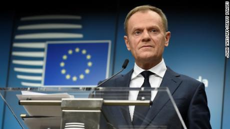 European Council Council Donald Tusk holds a joint press conference with the European Commission President  after an informal meeting of the 27 EU heads of state or government at the European Council headquarters in Brussels on February 23, 2018.  / AFP PHOTO / JOHN THYS        (Photo credit should read JOHN THYS/AFP/Getty Images)