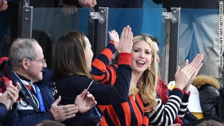 US President's daughter and senior White House adviser Ivanka Trump  at the curling.