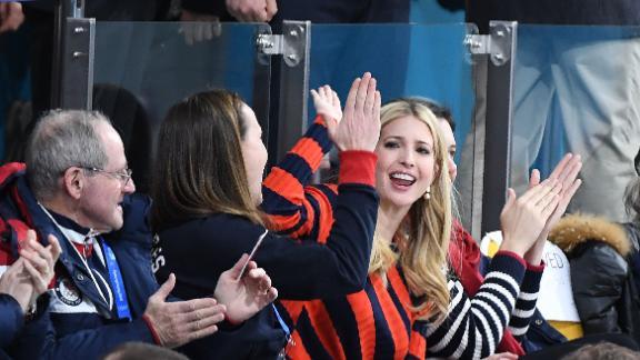 US President's daughter and senior White House adviser Ivanka Trump  at the curling.