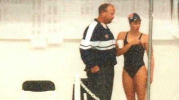 Jancy Thompson and her former swimming coach Norm Havercroft.