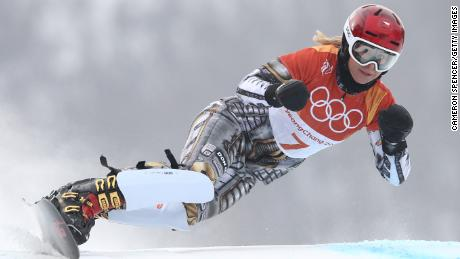 Ester Ledecka of the Czech Republic competes during the Ladies' Parallel Giant Slalom Elimination Run on day fifteen of the PyeongChang 2018 Winter Olympic Games.
