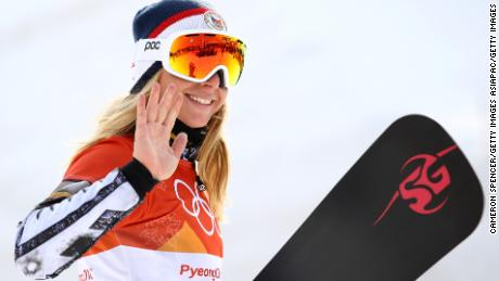 PYEONGCHANG-GUN, SOUTH KOREA - FEBRUARY 24:  Gold medalist Ester Ledecka of the Czech Republic poses during the victory ceremony for the Ladies' Snowboard Parallel Giant Slalom on day fifteen of the PyeongChang 2018 Winter Olympic Games at Phoenix Snow Park on February 24, 2018 in Pyeongchang-gun, South Korea.  (Photo by Cameron Spencer/Getty Images)