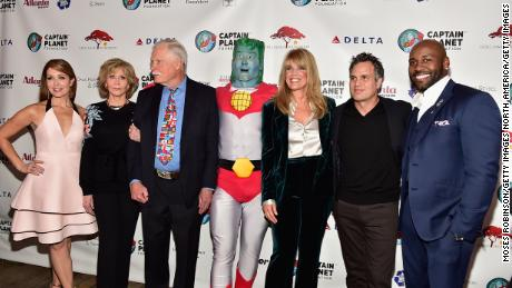 ATLANTA, GA - DECEMBER 08: (L-R) CNN anchor Christi Paul, actress Jane Fonda,Ted Turner,Captain Planet, Laura Turner Seydel, actor Mark Ruffalo and Dolvett Quince attends the 2017 Captain Planet Foundation Gala  at InterContinental Hotel Buckhead Atlanta on December 8, 2017 in Atlanta, Georgia.  (Photo by Moses Robinson/Getty Images)