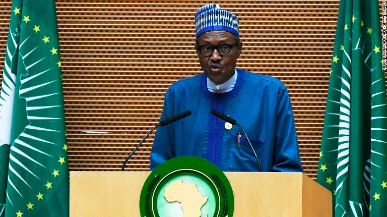 Nigeria's President Muhammadu Buhari speaks at the African Union summit in Addis Ababa on January 28, 2018.