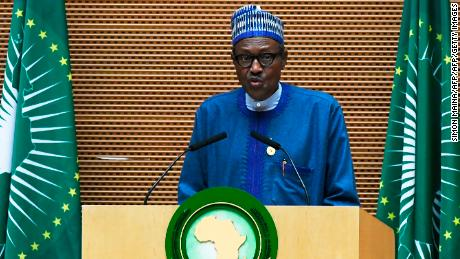 Nigeria's President Muhammadu Buhari speaks at the African Union summit in Addis Ababa on January 28, 2018.