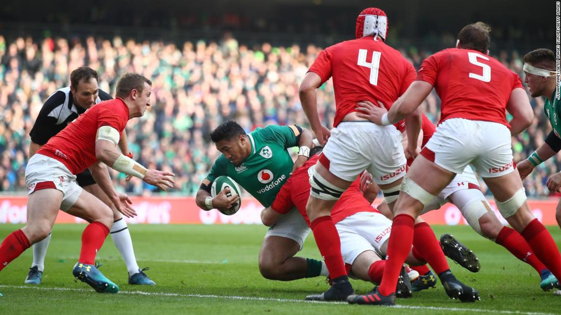 Bundee Aki of Ireland scores a first half try during his side's thrilling victory over Wales at the Aviva Stadium in Dublin.