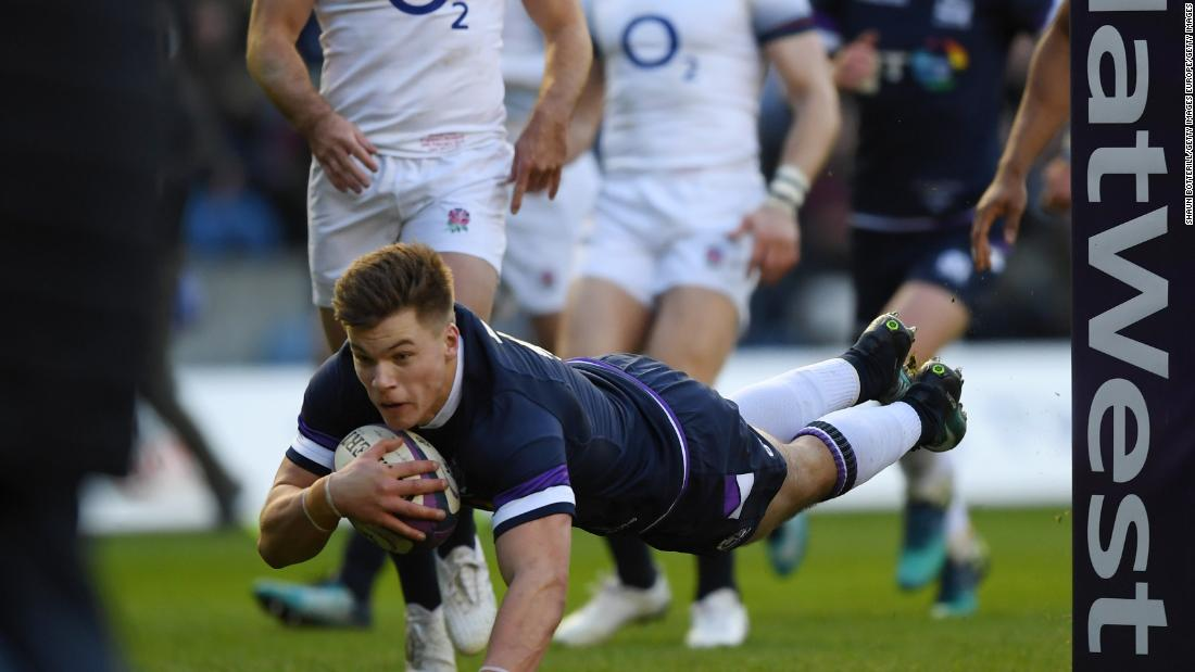 Huw Jones dives over for his seventh try in eight internationals to give Scotland an early lead over England at Murrayfield.