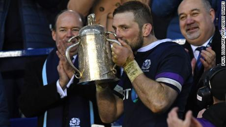 Scotland's flanker John Barclay kisses the Calcutta Cup after his side's 25-15 victory over England at Murrayfield.