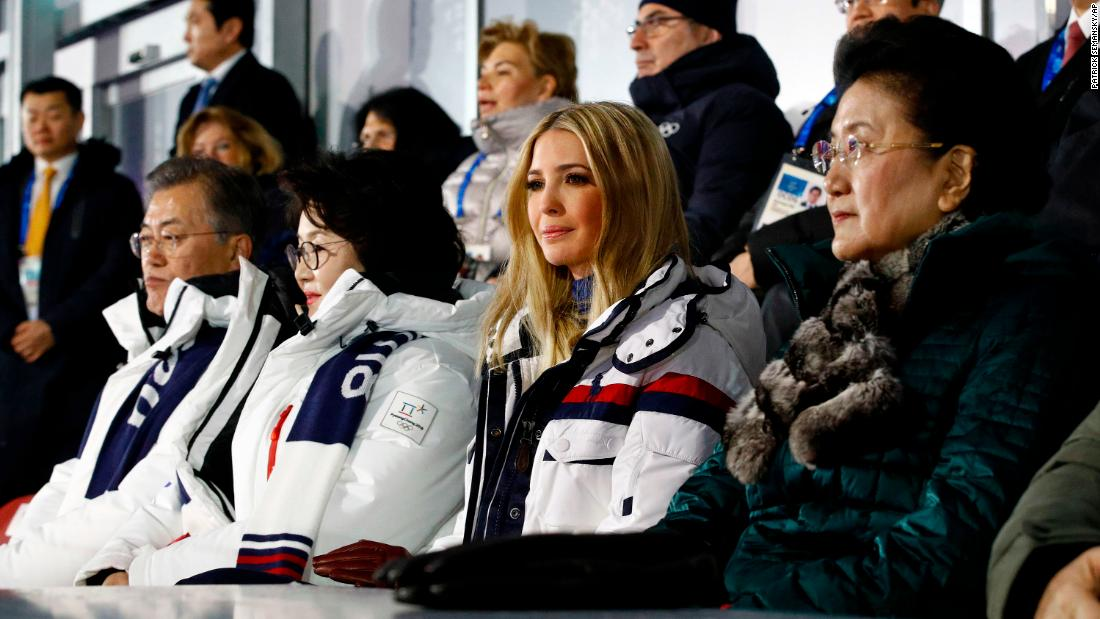 Ivanka Trump, daughter and senior adviser to US President Donald Trump, attends the ceremony with South Korean President Moon Jae-in and his wife, Kim Jung-sook. At right is Chinese Vice Premier Liu Yandong.