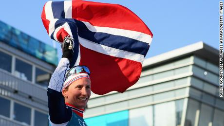 PYEONGCHANG-GUN, SOUTH KOREA - FEBRUARY 25:  Marit Bjoergen of Norway celebrates winning the Ladies' 30km Mass Start Classic on day sixteen of the PyeongChang 2018 Winter Olympic Games at Alpensia Cross-Country Centre on February 25, 2018 in Pyeongchang-gun, South Korea.  (Photo by Quinn Rooney/Getty Images)