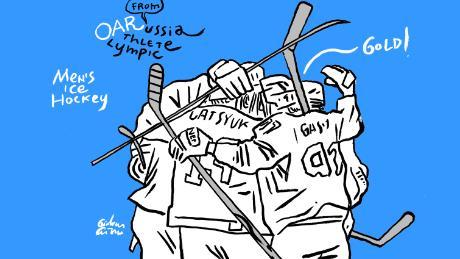Russia hockey sketch