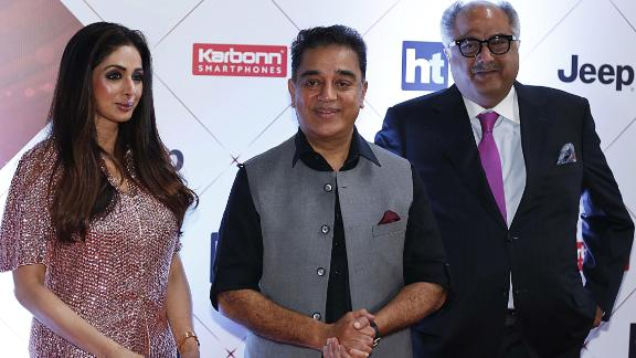 """Sridevi and her husband, Boney Kapoor, right, attend the """"HT India's Most Stylish Awards 2018"""" in Mumbai in January."""