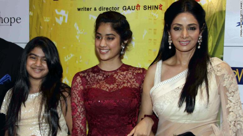 "Sridevi, right, with daughters Jhanvi, center, and Khushi in 2012 at the premiere of ""English Vinglish."""
