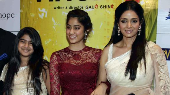 """Sridevi, right, with her daughters Jhanvi, center, and Khushi in 2012 at the premiere of """"English Vinglish."""""""