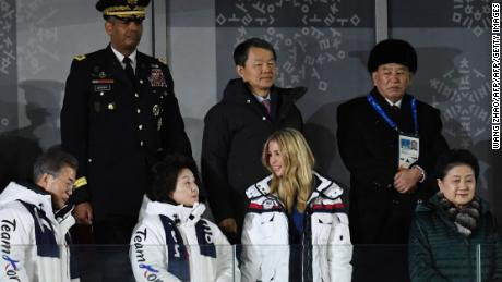 TOPSHOT - South Korea's President Moon Jae-in (L), his wife Kim Jung-sook (2ndL), US President Donald Trump's daughter and senior White House adviser Ivanka Trump (2ndR) and North Korean General Kim Yong Chol (back R) attend the closing ceremony of the Pyeongchang 2018 Winter Olympic Games at the Pyeongchang Stadium on February 25, 2018. / AFP PHOTO / WANG Zhao        (Photo credit should read WANG ZHAO/AFP/Getty Images)