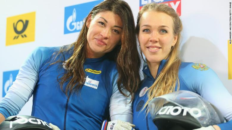 Nadezhda Sergeeva and Anastasia Kocherzhova of Russia at the BMW IBSF World Cup Women`s Bobsleigh World Cup
