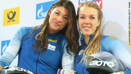 Nadezhda Sergeeva (R) and Anastasia Kocherzhova of Russia  at the BMW IBSF World Cup Women`s Bobsleigh World Cup on January 19, 2018.