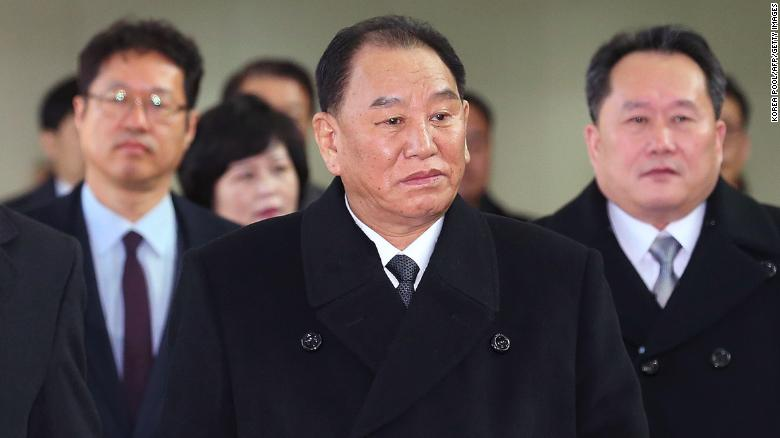 Kim Yong Chol (C), who led the North Korean delegation to the Pyeongchang 2018 Winter Olympic Games closing ceremony in February.