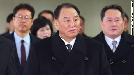Kim Yong Chol (C), leads the North Korean delegation to Pyeongchang for the end of the Winter Games.