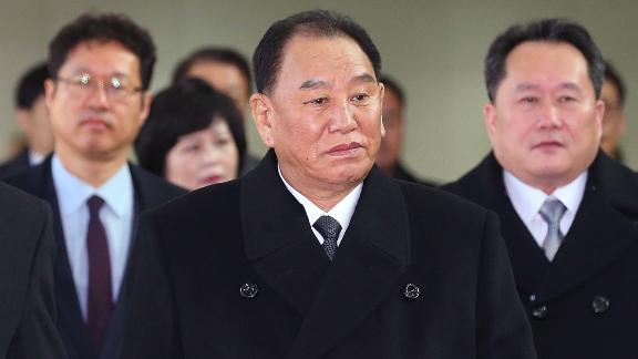 Kim Yong Chol (C), who leads a North Korean high-level delegation to attend the Pyeongchang 2018 Winter Olympic Games closing ceremony, arrives at the inter-Korea transit office in Paju on February 25, 2018. The blacklisted North Korean general arrived in the South on February 25 for the Winter Olympics closing ceremony, which will also be attended by US President Donald Trump's daughter Ivanka. / AFP PHOTO / KOREA POOL / KOREA POOL / South Korea OUT        (Photo credit should read KOREA POOL/AFP/Getty Images)