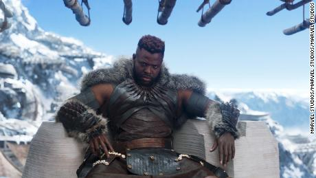 "Black Panther was the number one film in the U.S. for the second weekend in a row bringing in an estimated $108 million at the box office. Winston Duke seen here stars as M'Baku in ""Black Panther."""
