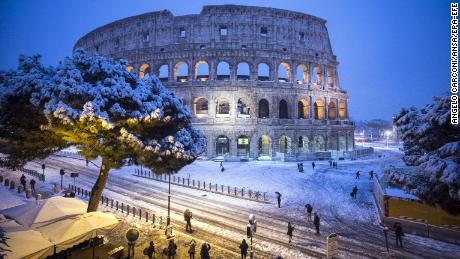 Snowball fights in Rome as Europe hit by 'beast from east' cold snap