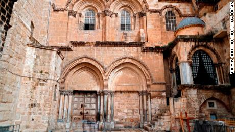 The courtyard of the Church of the Holy Sepulchre in the Old City of Jerusalem is seen empty on February 26, 2018 after Christian leaders took the rare step of closing the church, seen as the holiest site in Christianity, the previous day at noon. Jerusalem's Church of the Holy Sepulchre, built at the site where Christians believe Jesus was buried, remained closed today in protest at Israeli tax measures and a proposed property law.  / AFP PHOTO / THOMAS COEX        (Photo credit should read THOMAS COEX/AFP/Getty Images)