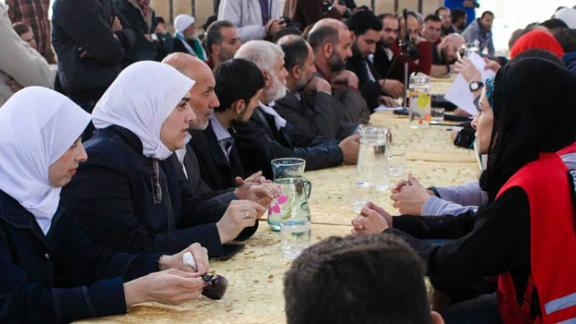Bayan Rehan in meetings after the arrival of an aid convoy to Eastern Ghouta last November.