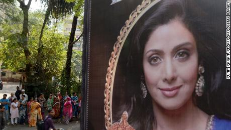 A picture of Sridevi is seen placed outside her residence in Mumbai on February 26, 2018, following her death.