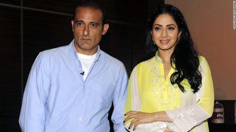 "Indian Bollywood actors Akshaye Khanna (L) and Sridevi attend a promotional event for the film ""Mom in Mumbai"" on June 20, 2017."