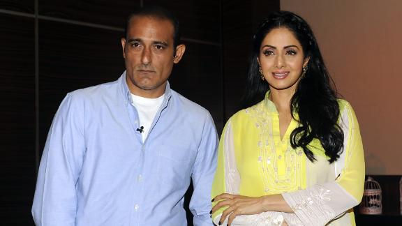 """Actor Akshaye Khanna attends a promotional event with Sridevi for the film """"Mom in Mumbai"""" in June 2017."""