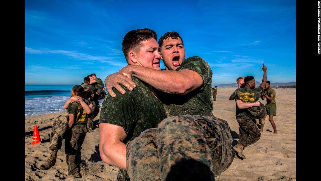 US Marines carry each other Friday, February 2, during physical training at California's Camp Pendleton.