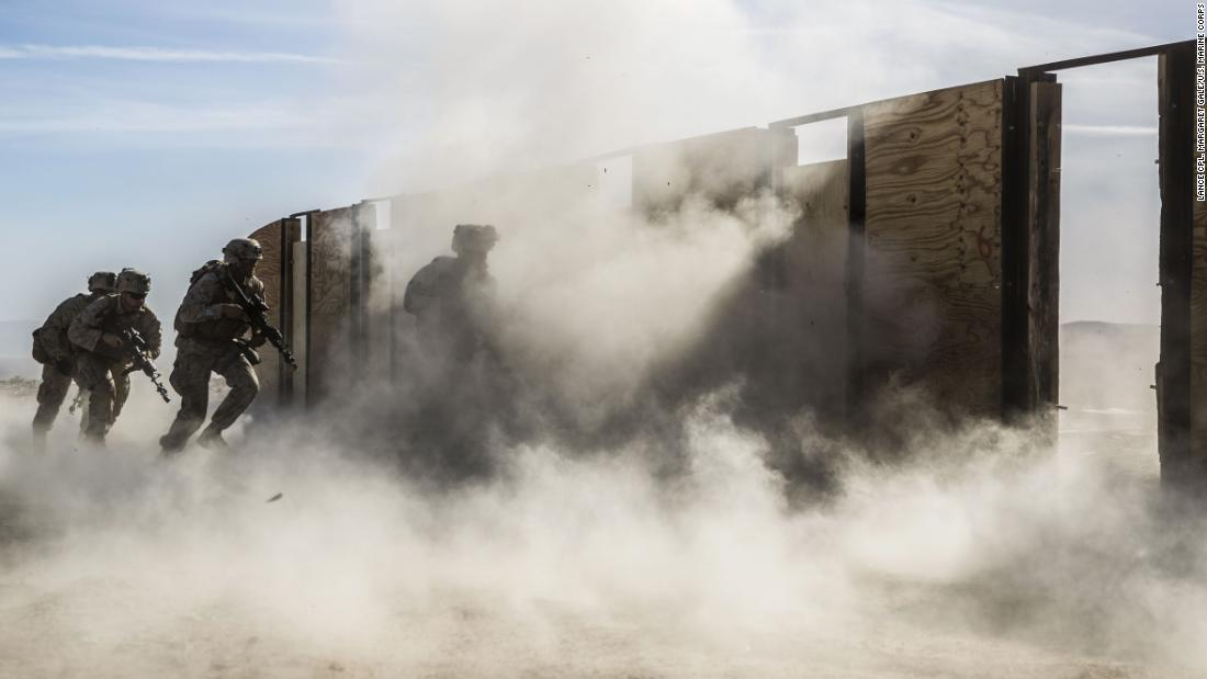 US Marines train to breach doors at a combat center in Twentynine Palms, California, on Friday, February 9.